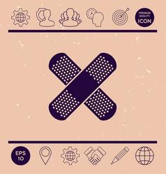 cross adhesive bandage medical plaster ico vector image vector image
