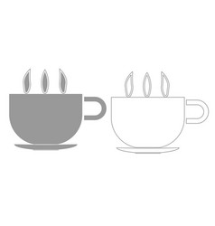 Cup with hot tea or coffee grey set icon vector