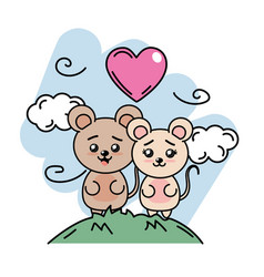 Cute couple of mice in the mountain with clouds vector