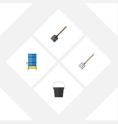 Flat icon garden set of container pail hay fork vector