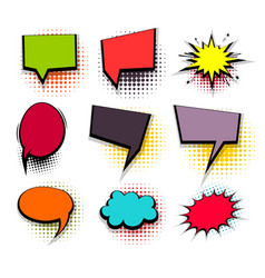 funny set colored comic speech square bubbles vector image