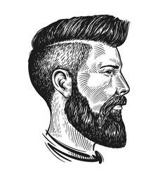 hand drawn portrait of man in profile hipster vector image