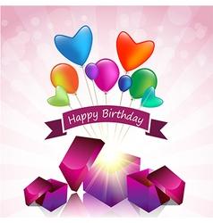 Happy Birthday card with magic gift box vector image