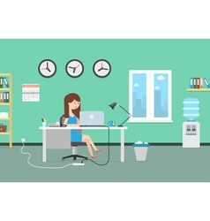 Happy woman working with laptop office interior vector