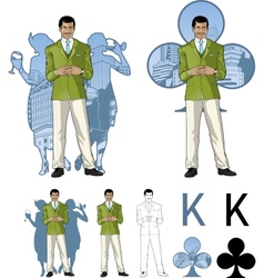 King of clubs asian male party host with female vector image vector image