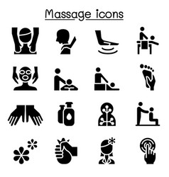 Massage spa alternative therapy icon set graphic vector