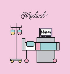 medical bed and iv stand bag monitoring machine vector image