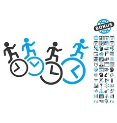 Men running over clocks flat icon with vector
