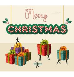 Merry christmas teamwork card vector