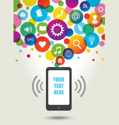 Mobile phone and social media icons Concept backg vector image vector image