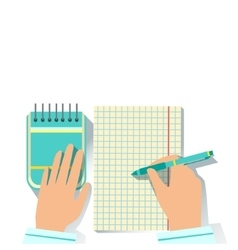 Notebook and block note office worker desk element vector