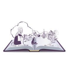 open book fairy tale sweet magic porridge pot vector image
