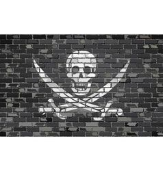Pirate flag on a brick wall vector