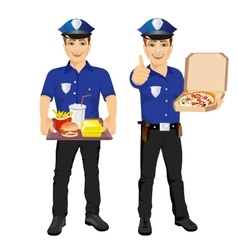 policemen holding tray full of fast food and pizza vector image vector image