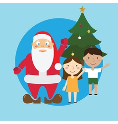 Santa and children and tree vector