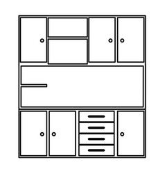 Sketch silhouette of modern kitchen cabinets vector