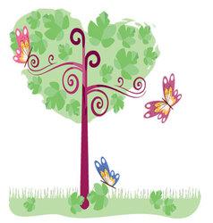 tree with butterflies 2 vector image vector image