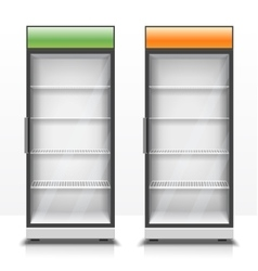 Two empty vertical refrigerators with transparent vector image vector image