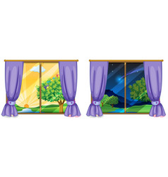 Two window scenes day and night vector
