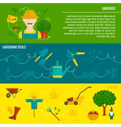 Vegetable garden horizontal banners flat vector