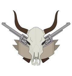 Wild west cow skull pistols ribbon logo Color vector image