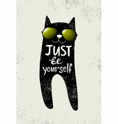 With funny cat in a glasses vector