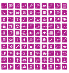100 diagnostic icons set grunge pink vector