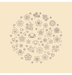 Blossom flower thin line icons in circle design vector