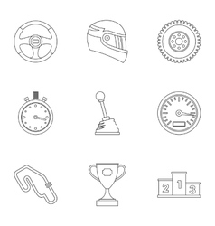 Speed cars icons set outline style vector