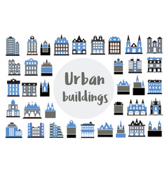 Set of flat icons of city building hotels vector