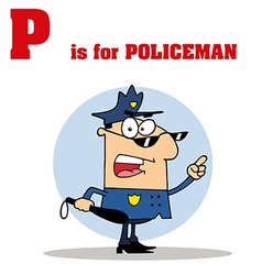 Police officer cartoon with letter vector