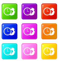 world planet with watch icons 9 set vector image