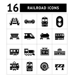 Set icons of railroad and train vector