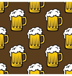 Beer tankards seamless pattern vector image