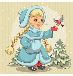 Snow maiden in blue fur coat feeds bullfinch vector