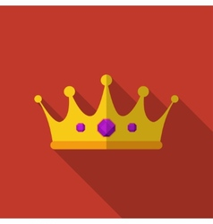 Flat crown with long shadow icon vector