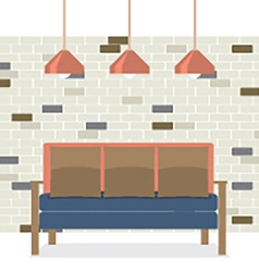 Modern flat design sofa interior vector
