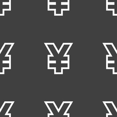 Yen jpy icon sign seamless pattern on a gray vector