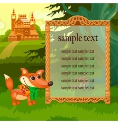 Golden frame fox and wooden castle in woodland vector