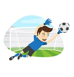 Funny soccer football player goalkeeper wearing vector