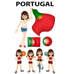 Portugal flag and woman athlete vector