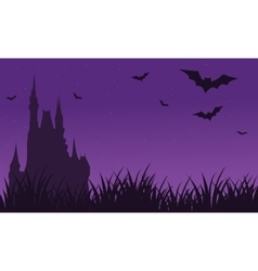 Silhouette of castle and bat twilight halloween vector