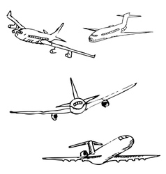 Aircraft Pencil sketch by hand vector image