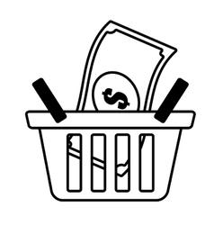 basket shop bill money outline vector image