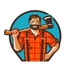 Cartoon lumberjack holding an axe vector
