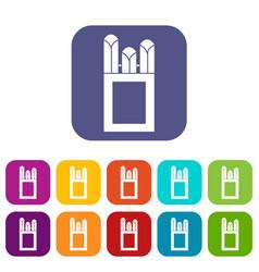 Chalks in carton box icons set vector