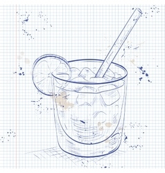 Cocktail spritz on a notebook page vector