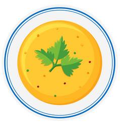 Cream vegetable soup in bowl vector