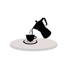 cup of hot tea black vector image