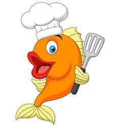 Fish chef cartoon vector image vector image